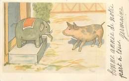 COCHON ET ÉLÉPHANT .carte 1900. - Cochons