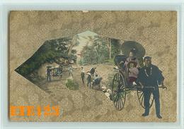Post Card  - JAPON - Japan - Jinrikisha - Femme à Ombrelle Sur Un Pousse Pousse Et Transport Sur Palanquin - Japon
