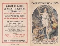 Emprunt National 1920 Calendrier Sté Générale De Crédit Industriel Et Commercial 66, Rue De La Victoire, Paris IX - Calendriers