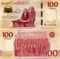 MEXICO        100 Pesos       Comm.       P-130       25.1.2016       UNC  [sign. Del Cueto] - Messico