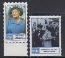 South Georgia 1990 90th. Birthday Queen Mother 2v ** Mnh (40954) - Zuid-Georgia