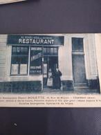 Cambrai Hotel Restaurant Henri Mouette  Superbe Carte Rarissime - Cambrai