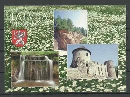 LATVIA Post Card VIDZEME Waterfalls Of Dauda Castle Of Cesis Etc - Lettonie