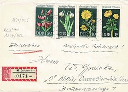 TP N°1152/1155 Et Au Verso 1146/51 (Y&T ) Sur Enveloppe En Recommandé De Zwickau Pour Dudweiler - Briefe U. Dokumente