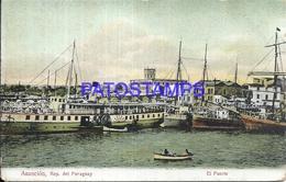 101611 PARAGUAY ASUNCION VISTA DEL PUERTO PORT & SHIP POSTAL POSTCARD - Chile