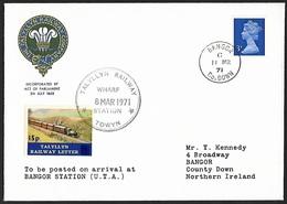 1971 - GREAT BRITAIN - Cover [FDC] + SG X855 + Talyllyn Railway Letter + BANGOR - 1971-1980 Em. Décimales