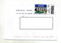 Lettre Flamme Chiffree Sous Code Roc Symbole Inegalité Sur Timbre Personnalisé Occitanie Pont - Poststempel (Briefe)