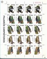 EL SALVADOR 1999 BIRDS, WOODPECKER, STRIP OF 5 VALUES, SCOTT 1530 MINT NEVER HINGED - El Salvador