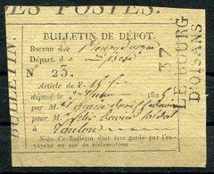 RC 10281 FRANCE 1825 BULLETIN DE DEPOT 37 LE BOURG D'OISANS ISERE - Postmark Collection (Covers)