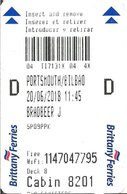 FRANCIA KEY CABIN      Brittany Ferries ( Shipping Company ) - Hotel Keycards