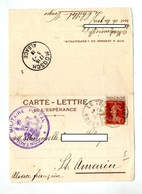 Carte Franchise Militaire + Semeuse Cachet Le Thillot + Moosch + Controle Militaire - Marcophilie (Lettres)
