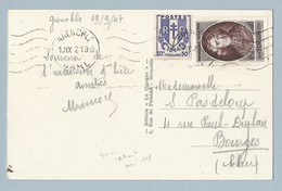 N°785 + 673 Sur Carte Postale Grenoble 19/9/49 Vers Bourges - Postmark Collection (Covers)