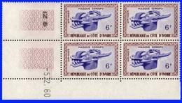 Côte D'Ivoire Bloc De 4 Coin Daté N°186 Neufs** 5/2/1960 - Ivoorkust (1960-...)