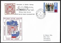1971 - GREAT BRITAIN - FDC + SG 887 + Ravenglass & Eskdale Railway + RAVENGLASS - 1971-1980 Em. Décimales
