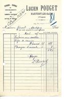 Facture 1/2 Format 1945 / 88 Martigny-Les-Bains L. POUGET Tapisserie, Tentures - France