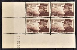 FRANCE 1940 - BLOC DE 4 TP / Y.T. N° 454 - NEUF** COIN DE FEUILLE / DATE - 1940-1949