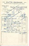 Facture 1/2 Format 1945 / 88 Martigny-Les-Bains E. GALMICHE Auto - Motos - Vélos / Mécanique En Tous Genre - France