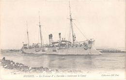 """MARINE DE GUERRE - Le Croiseur D'""""IBERVILLE"""" Traversant Le Canal à BIZERTE - TUNISIE - Très Bon état - Belle Carte - Guerra"""