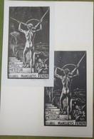 2 Ex-libris Illustrés XXème - Italie - Homme Nu Au Compas - MANSUETO FENINI - Ex-libris