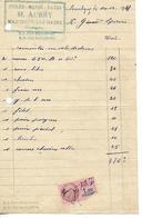Facture 1/2 Format 1925 / 88 Martigny-Les-Bains / M. AUBRY / Cycles, Motos, Autos - France