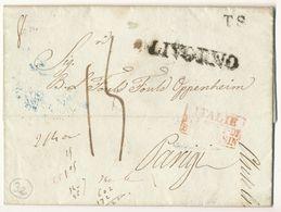 MARITIME & ENTREE LAC 1837 LIVORNO ITALIE +ITALIE P LE PONT DE BEAUVOISIN + MARQUE TS ( TRANSIT ) LETTRE POUR LA FRANCE - Italia