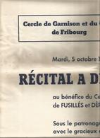 Affiche ,60 X 43 Cm, Cercle De Garnison Et Du Gouvernement Militaire De Fribourg, 1948 , Récital à Deux Pianos - Affiches
