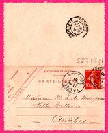 Carte Lettre 10 C Semeuse - Entier Postal - Oblit. La Colle Et Antibes ( 06 ) - Pour Maupassant - 1910 - Entiers Postaux