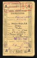 AVION - PAS-DE-CALAIS - 1940 CARTE INDIVIDUELLE D' ALIMENTATION - Vecchi Documenti