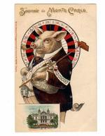 MONACO - Souvenir De MONTE-CARLO - Carte Humoristique Gaufrèe Croupièr En Cochon Devant La Roulette - Monte-Carlo