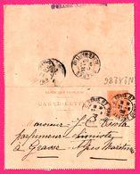 Carte Lettre 15 C Mouchon - Entier Postal - Oblit. Grasse (06) Et R. Alex. Dumas Paris 87 - Pour Ossola Parfumeur - 1902 - Biglietto Postale
