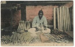 View Of A Carpenter At Korea  Charpentier Coréen Hand Colored - Corea Del Sud