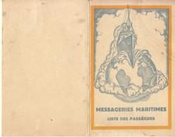 """MESSAGERIES MARITIMES - LISTE DES PASSAGERS DU NAUTONAPHTE """"ERIDAN"""" DEPART 8 FEVRIER 1938 - Bateaux"""