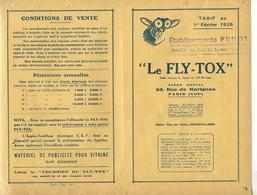 Facture Tarifs 1929 / Le FLY-TOX / NANCY E FENOT / PARIS, GENNEVILLIERS, LILLE, BORDEAUX, MARSEILLE - Frankrijk