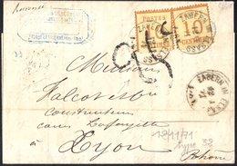 N°5 ( 2ex ) BURELAGE RENVERSE Couleur CITRON ( Les 2 ) Sur Lettre De Saverne 12/11/1871 Pour Lyon   Taxe 25c - Alsace-Lorraine
