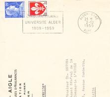 Flamme -ALGER-GARE-2/12/1959-Cinquantenaire De L'université D'ALGER - Algerien (1924-1962)