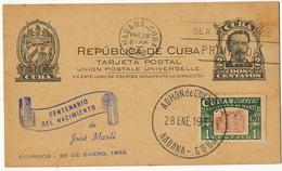 Centenario Del Nacimiento De Marti Maximum Card 1953 - Cuba