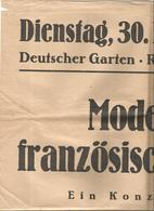 Affiche ,60 X 43 Cm, Deutscher Garten . Reinhäuser Landstr., 1948 , Moderne Französische Musik - Affiches