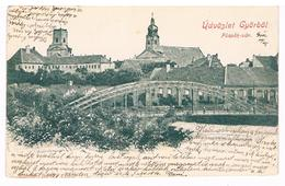 CPA Dos Non Divisé : Gyor  - Üdvozlet Györböl , Püspök-var - Hungary