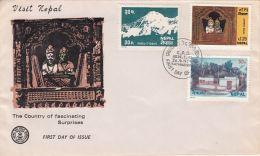 VISIT NEPAL, TOURISM, MOUNTAIN, TEMPLE, VILLAGE, COVER FDC, 1979, NEPAL - Nepal