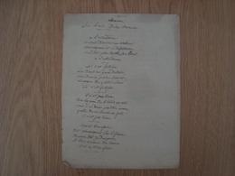 MANUSCRIT CHANSON SUR L'AIR DE LA BARONNE - Manuscrits