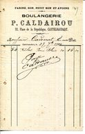 11.AUDE.CASTELNAUDARY.FARINE.SON.BOULANGERIE P.CALDAIROU 32 PLACE DE LA REPUBLIQUE.FACTURETTE. - Food
