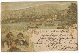Gruss Aus Corral Precurseur Pioneer Card Litho Kober Valdivia . P. Used 1896 Indians South Chile To De Roestel - Chili