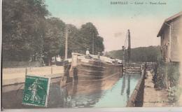 EURVILLE           CANAL. PONT LEVIS.     PENICHE EN GROS PLAN .   COLORISEE - Autres Communes