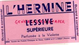 86- DISSAY - RARE BUVARD L' HERMINE -LESSIVE SUPERIEURE PARFUMEE A LA VIOLETTE- SOCIETE PRODUITS CHIMIQUES GUERIN - Buvards, Protège-cahiers Illustrés