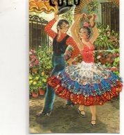 COUPLES 345 : Carte Brodée Espagnole ( Une Danse Avec Des Castagnettes ) - Couples