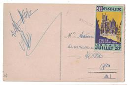"""1937 - VIGNETTE """" MEAUX FOIRE EXPOSITION """" Sur CP De BIARRITZ (ROCHER DU BASTA ET NAVIRES EN RADE) - Commemorative Labels"""