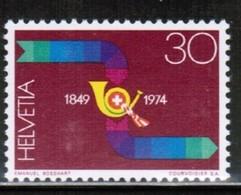 POSTHORN 125 Years Jahre Eidgenössische Post Poste Fédérale Federal Post SWITZERLAND SCHWEIZ 1974  MNH MI 1041 - Post