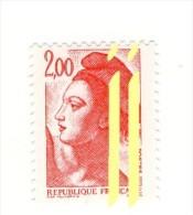 Liberté 2fr Rouge YT 2274 Avec 2 Bandes De Phosphore à Droite Et à Cheval . Voir Le Scan . Cote Maury N° 2276h : 20 € - Varieties: 1980-89 Mint/hinged