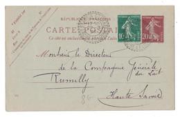 1926 - SUPERBE FRAPPE Du CAD FACTEUR-BOITIER De ST AUBIN SUR LOIRE SAONE Sur ENTIER SEMEUSE 20c + COMPLEMENT 10c RUMILLY - 1921-1960: Modern Period