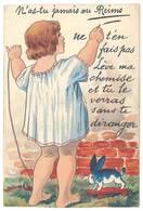 Cpa N'as Tu Jamais Vu Reims ( Système Dépliant Dans La Robe De La Fillette, Recoupée Bord Haut ) - Reims